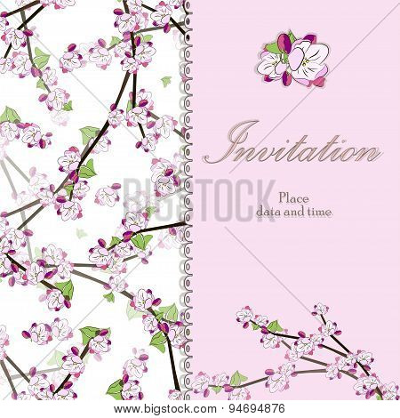 Vintage floral invitation card with blooming twig