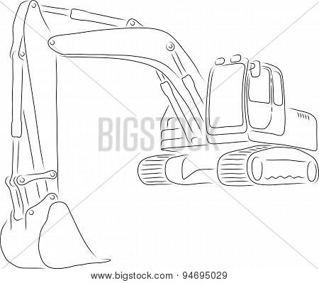 Outline of excavator, vector illustration
