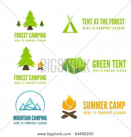 Set of modern camp badges, logo, emblem and logotype elements for camping, web, business or other pr