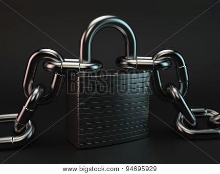 Metallic Padlock And Chains