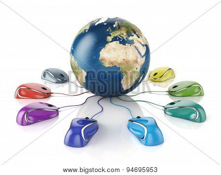 Computer Mouses Connected To A Globe Earth