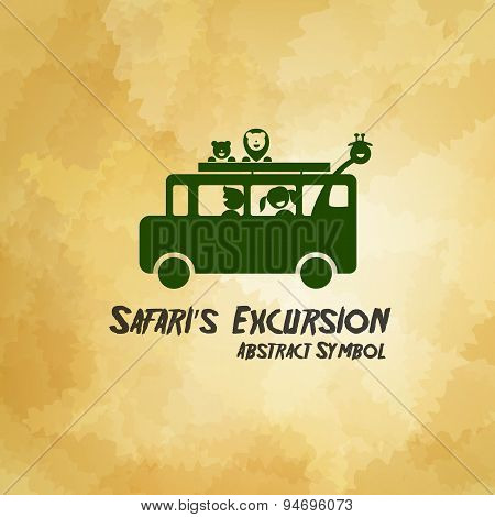 Safari Excursion Abstract Symbol On Dirty Background Vector Illustration
