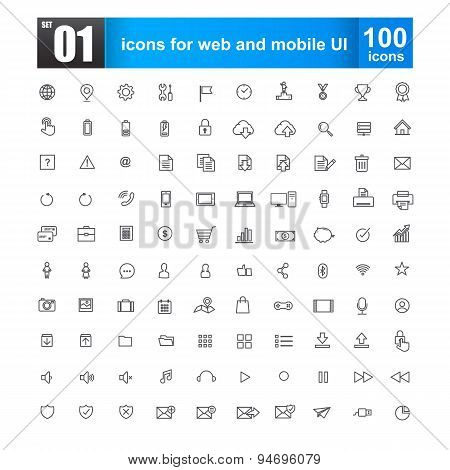 Simple Line Icons For Web Design And Mobile Ui Vector Illustration