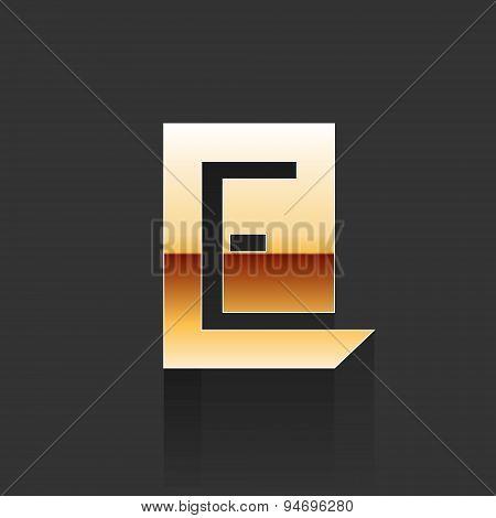 Vector Gold Letter E Shape Logo Element