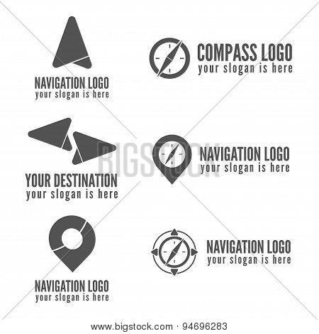 Set of logo, badge, label, emblem or logotype elements for navigation, map, web, business compass an