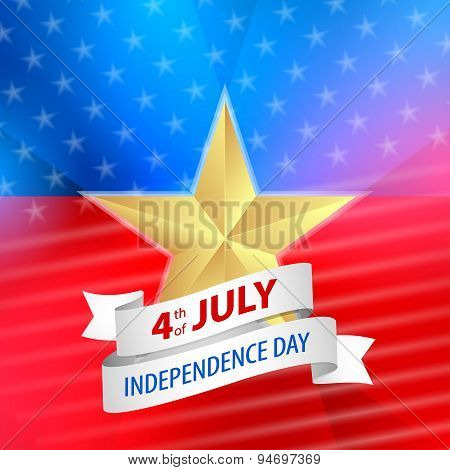 Vector 4th Of July Background With Ribbon