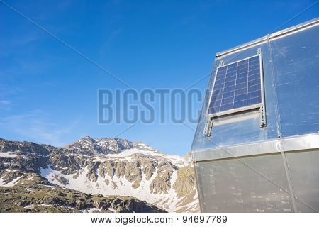 Solar Panel At High Altitude In The Alps