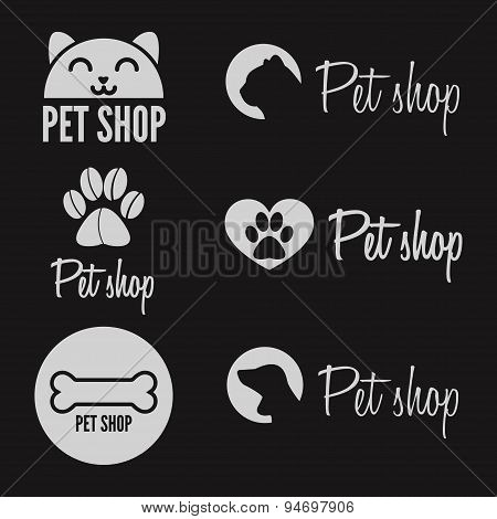Set of vintage logo and logotype elements for pet shop, house or clinic