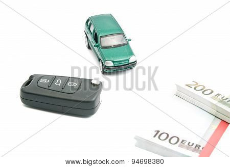 Green Car, Euro Banknotes And Car Keys
