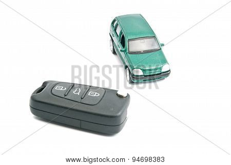 Car Keys With Alarm And Green Car