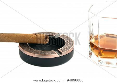 Cigar In Metal Ashtray And Alcohol