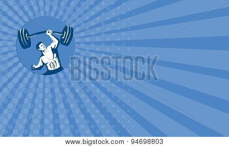 Business Card Strongman Lifting Barbell One Hand Stencil