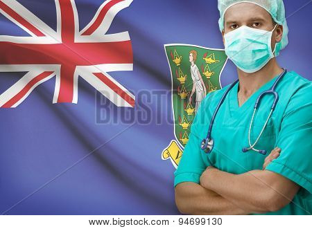 Surgeon With Flag On Background Series - British Virgin Islands
