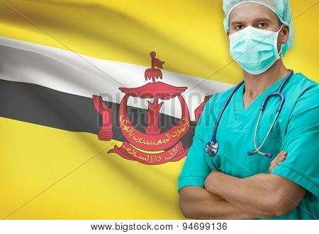 Surgeon With Flag On Background Series - Brunei