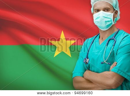 Surgeon With Flag On Background Series - Burkina Faso