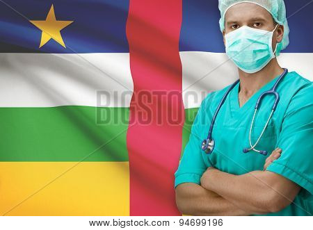 Surgeon With Flag On Background Series - Central African Republic
