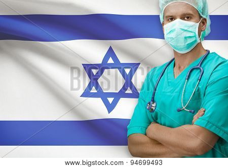 Surgeon With Flag On Background Series - Israel