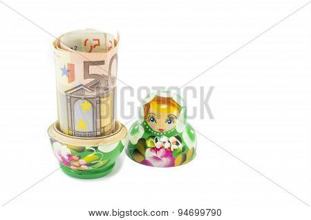 Russian Doll With 50 Euro Bill Isolated
