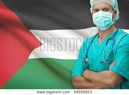 Surgeon With Flag On Background Series - Palestine