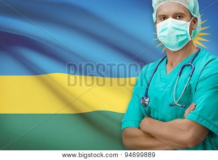 Surgeon With Flag On Background Series - Rwanda