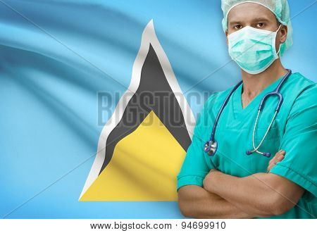 Surgeon With Flag On Background Series - Saint Lucia