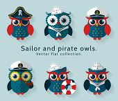 Sailor And Pirate Owl. Vector Set. poster