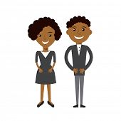 Couple of business woman and business man. Black afroamerican business people flat illustration poster