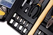 stock photo of pliers  - toolbox set of tools include hammer wrench bit driver pliers hex key bush level hex key - JPG