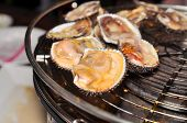 foto of pry  - Shell steaks on the grill in restaurant - JPG