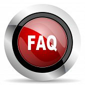 pic of faq  - faq red glossy web icon original modern design for web and mobile app on white background  - JPG