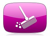 stock photo of broom  - broom violet icon clean sign original modern design for web and mobile app on white background with reflection  - JPG