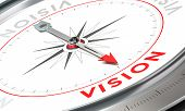pic of mandate  - Compass with needle pointing the word vision - JPG