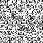 pic of day dead skull  - Day of the Dead Sugar Skull Seamless pattern - JPG