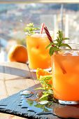 image of vodka  - refreshing drink orange and mint with a little vodka - JPG