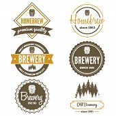 image of brew  - Set of vintage logo or logotype elements for beer - JPG