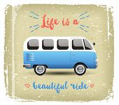image of camper  - Summer time background with camper van in retro style - JPG