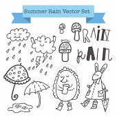 Постер, плакат: Summer rain vector set