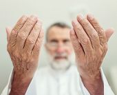pic of muslim man  - Elderly Muslim Arabic man praying - JPG