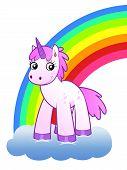 pic of unicorn  - Cartoon unicorn on the cloud against the rainbow - JPG