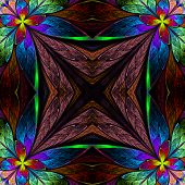 stock photo of symmetrical  - Symmetrical multicolored flower pattern in stained - JPG