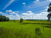 stock photo of wind-farm  - wind farm in agrarian landscape with meadows - JPG