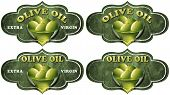 picture of olive shaped  - Collection of four labels with green olives and oil text Olive oil and Extra virgin - JPG