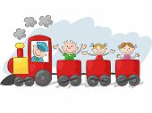 stock photo of playmate  - Vector illustration of Happy little kids cartoon on a colorful train - JPG