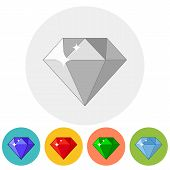 picture of gem  - Shining gem icon in different color variations - JPG