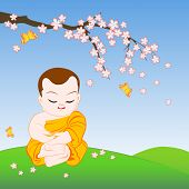 picture of buddhist  - Buddhist monk sitting in peaceful meditation under sakura branch - JPG