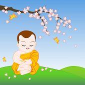 foto of sakura  - Buddhist monk sitting in peaceful meditation under sakura branch - JPG