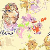 stock photo of lamas  - seamless pattern of cute lama and hyacith flower and blots of paint - JPG