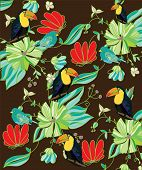 foto of jungle flowers  - colorful bright background with flowers birds and Toucan on a brown background - JPG