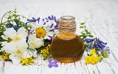 stock photo of wildflowers  - Nature oil with wildflowers on a old wooden background - JPG