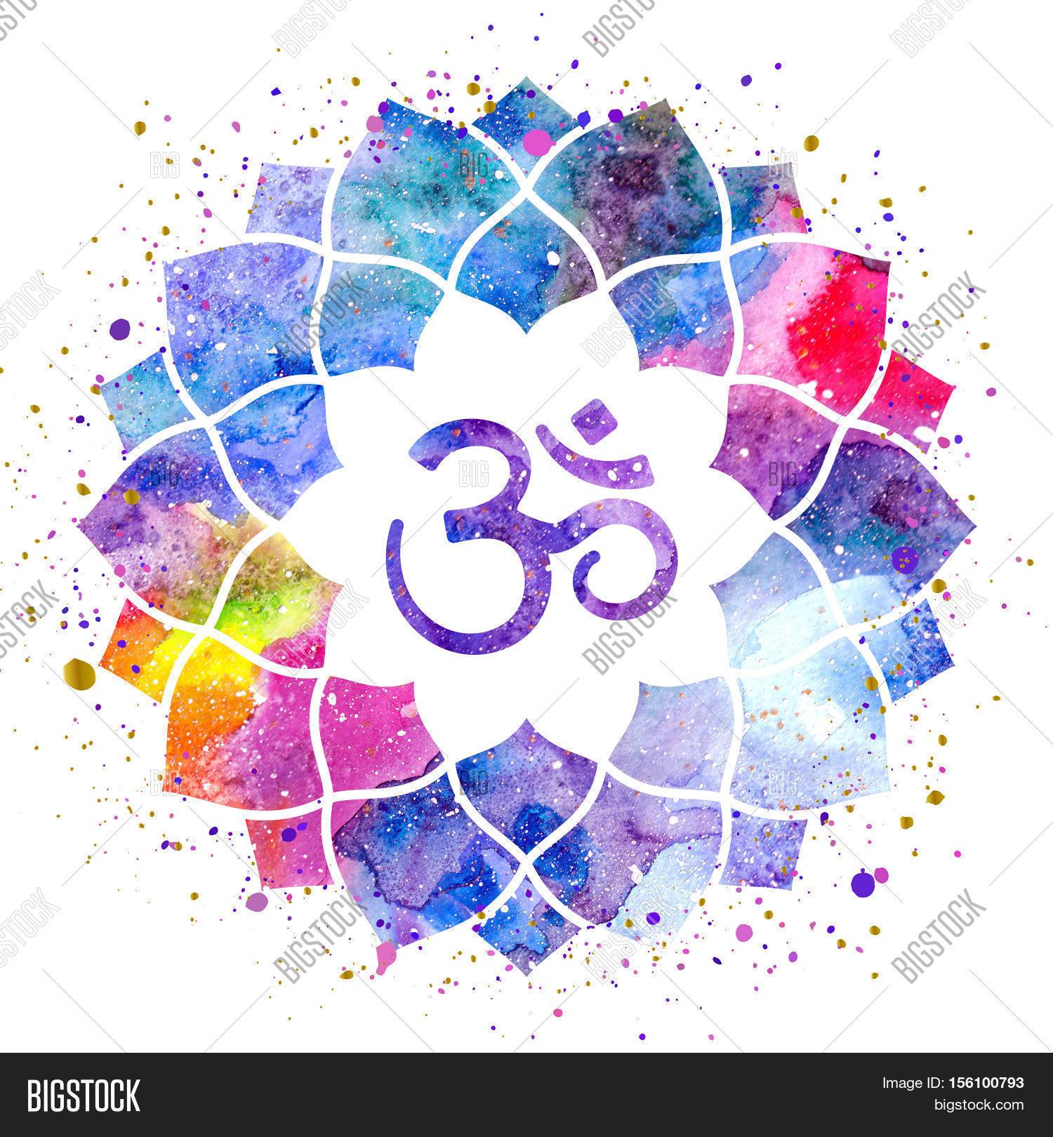 Om sign in lotus flower rainbow watercolor texture and splash om sign in lotus flower rainbow watercolor texture and splash isolated spiritual buddhist hindu dhlflorist Gallery